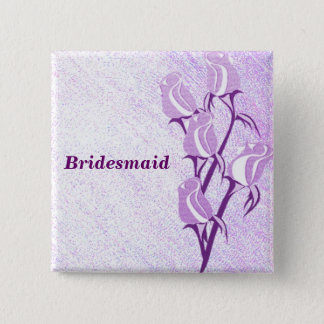 Purple Rose Bridesmaid Button Pin