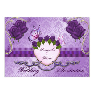 Purple Rose Damask Wedding Invitation Card