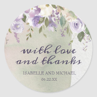 Purple Rose Floral Thank You Personalized Wedding Classic Round Sticker