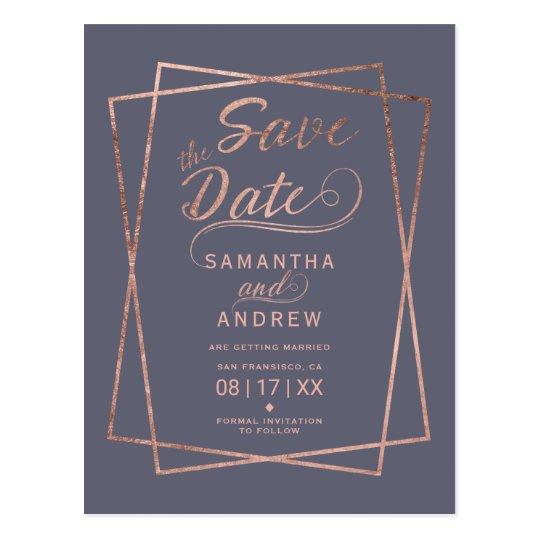 Purple rose gold script geometric save the date postcard
