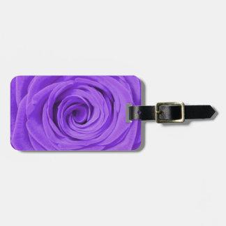 Purple rose luggage tag