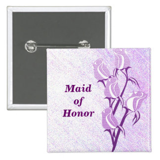 Purple Rose Maid of Honor Button Pin