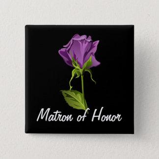 Purple Rose on Black 2 Inch Square Button