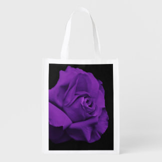 Purple Rose on Black Background Reusable Bag Grocery Bags