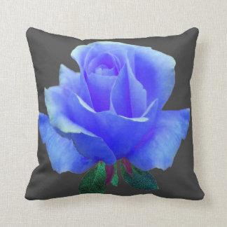 PURPLE ROSE ON CHARCOAL GREY FLORAL  PATTERN THROW PILLOW