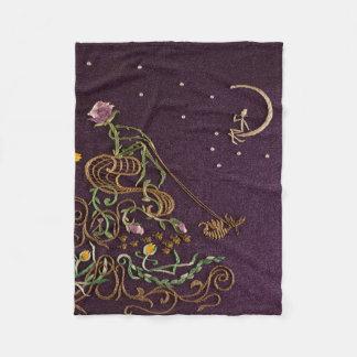 purple rose pulled by bee-blanket fleece blanket