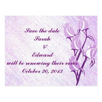 Purple Rose Save the Date Postcard