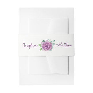 Purple Rose Wedding Invitation Belly Bands Invitation Belly Band