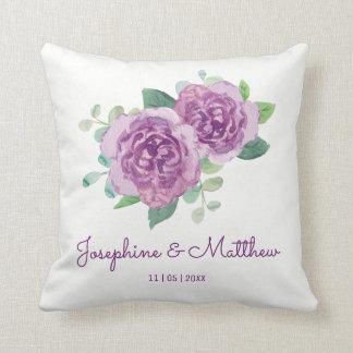 Purple Rose Wedding Throw Pillow