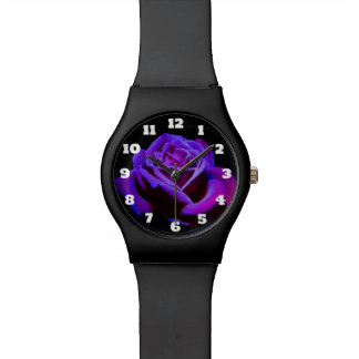 Purple Rose With Dew Droplets on Black Background Watch