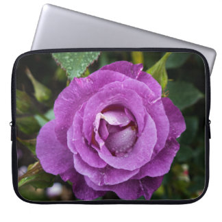 Purple Rose with Raindrops Laptop Sleeve