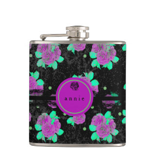 Purple Roses and Black Lace Hip Flask