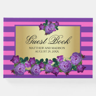 Purple Roses and Gold Personalized Wedding Guest Book