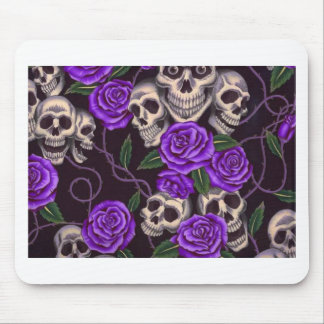 Purple Roses and skulls Mouse Pad