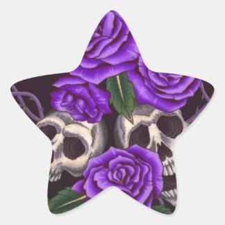 Purple Roses and skulls Star Sticker