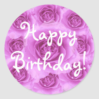 Purple Roses Birthday Sticker