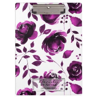 Purple Roses Botanical Glam Floral Personalized Clipboard