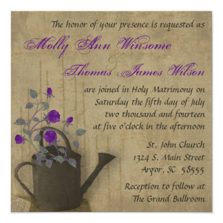 "Purple Roses in Watering Can Vintage Wedding Invit 5.25"" Square Invitation Card"