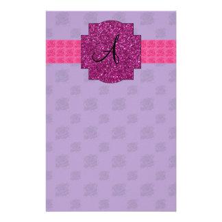 Purple roses monogram customized stationery