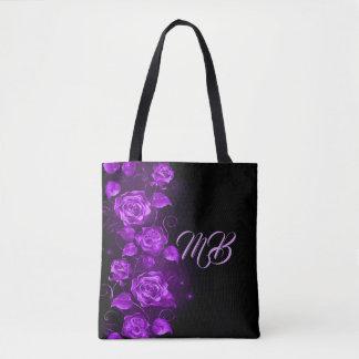 Purple roses on black monogrammed tote bag