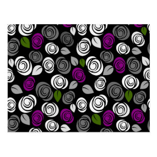 Purple roses pattern postcard