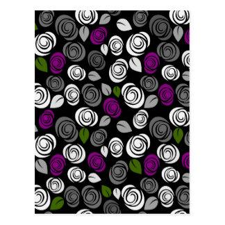 Purple roses pattern postcard