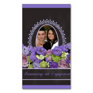 purple roses photo engagement announcement magnetic business card