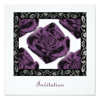 Purple Roses Square Invitation