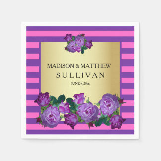 Purple Roses, Stripes Gold Personalized Wedding Paper Napkins