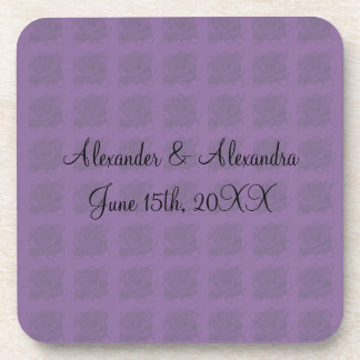 Purple roses wedding favors drink coaster