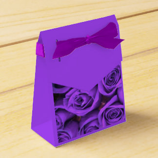 Purple Roses with Purple Ribbon Favor Box