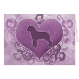 Purple Rottweiler Valentine's Day Card