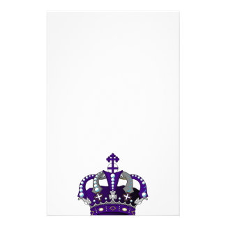 Purple Royal Crown Customized Stationery