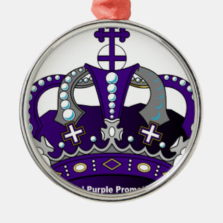 Purple Royal Crown Silver-Colored Round Ornament