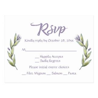 Purple RSVP Watercolor Flower Laurel Leaves Postcard