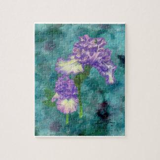 Purple Ruffle Iris Puzzle with Box