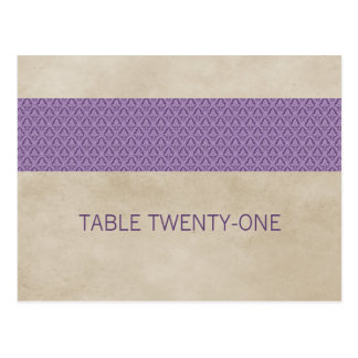 Purple Rustic Damask Table Number Postcard