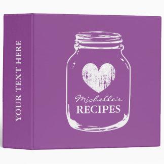 Purple rustic mason jar kitchen recipe binder book