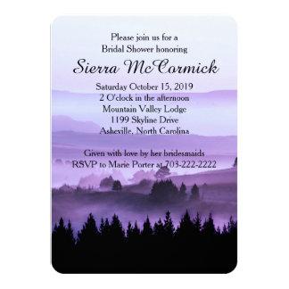 """Purple Rustic Mountain Bridal Shower Invitation 4.5"""" X 6.25"""" Invitation Card"""