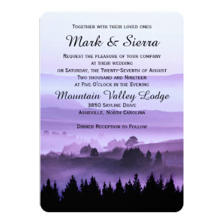 "Purple Rustic Mountain Wedding Invitation 5"" X 7"" Invitation Card"