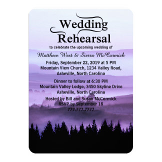 "Purple Rustic Mountain Wedding Rehearsal Dinner 4.5"" X 6.25"" Invitation Card"