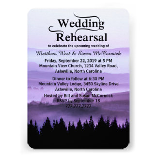 Purple Rustic Mountain Wedding Rehearsal Dinner Personalized Announcement