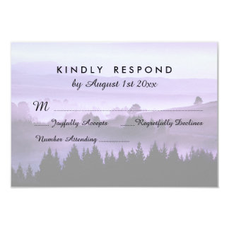 "Purple Rustic Mountain Wedding RSVP Response 3.5"" X 5"" Invitation Card"