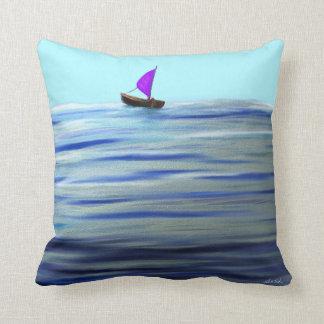 Purple Sailboat Throw Pillow
