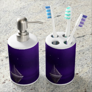 Purple Sailboat Toothbrush Holder & Soap Dispenser
