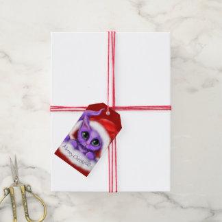 Purple Santa Kitty Meowy Christmas Gift Tags