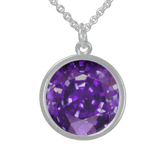 Purple Sapphire 3 Sterling Silver Necklace