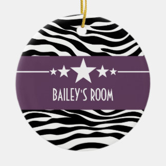 Purple Sassy Star Zebra Ornament