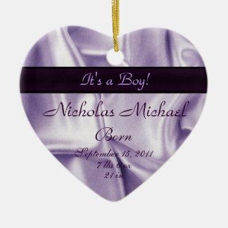 Purple Satin Birth Announcement Keepsake Ceramic Ornament