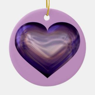 Purple satin heart ceramic ornament